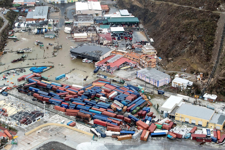 Destruição em Saint Maarten, parte holandesa na Ilha de Saint Martin, no Caribe, após passagem do Irma