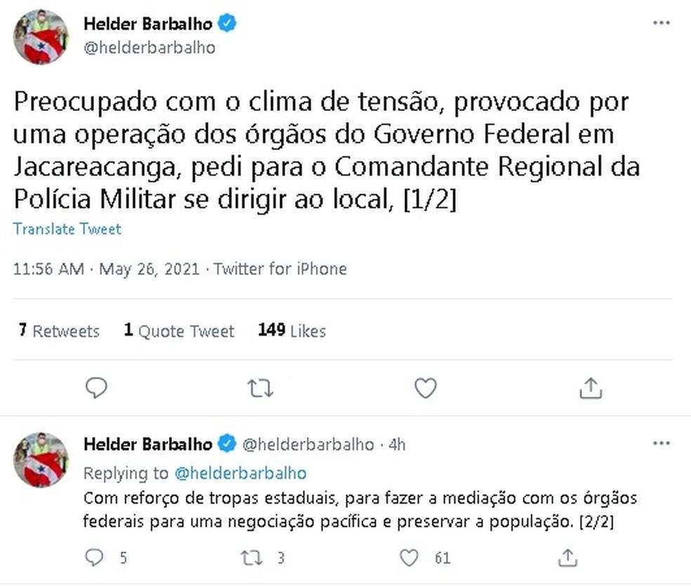 Governador Helder anuncia reforço de tropas estaduais em Jacareacanga. — Foto: Reprodução / Twitter