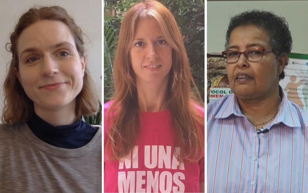 Ativistas da Islândia, Argentina e Somália falam sobre a violência contra a mulher em seus países (Foto: Dagny Aradottir Pind/ Cecilia Palmeiro/ Faiza Mohamed)