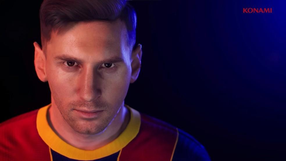 Messi pode deixar de compor a capa do game em PES 2022 — Foto: Reprodução/Konami