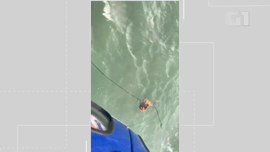 Jovem é capturado no mar por homens do Grupamento Aéreo da PM após fugir de policiais em praia na Bahia; VÍDEO