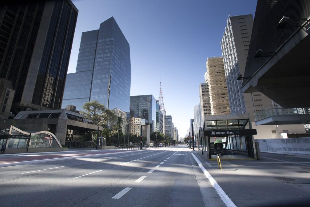 Vista da Avenida Paulista no feriado da Sexta-feira da Paixão, 10 de abril — Foto: Mister Shadow/Estadão Conteúdo