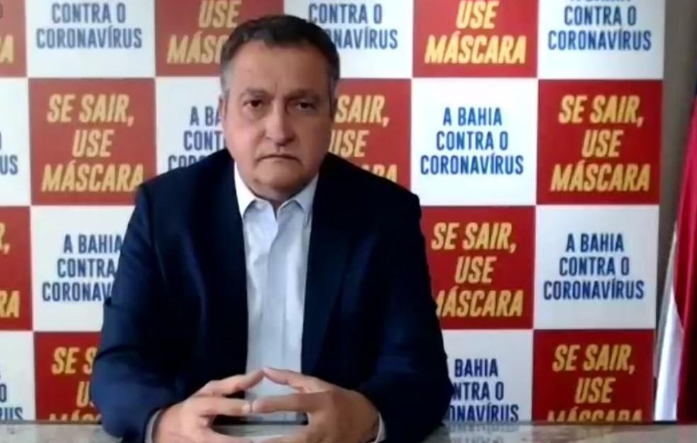 Governador da Bahia, Rui Costa, em entrevista coletiva virtual nesta segunda-feira (14). — Foto: Reprodução/Redes Sociais