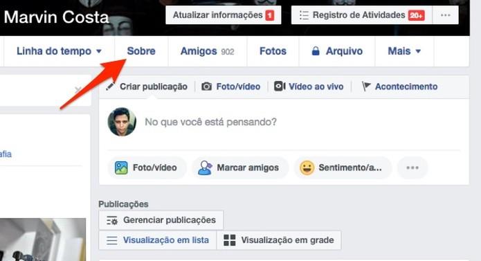 Ação para visualizar a página de dados pessoais de um perfil do Facebook (Foto: Reprodução/Marvin Costa)