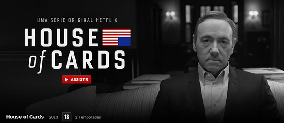 """House of Cards foi primeiro sucesso da Netflix, mas """"Example Show"""" veio antes — Foto: Reprodução/Netflix"""
