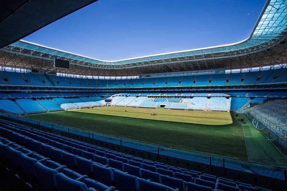 Novo gramado da Arena — Foto: Matsu Panzenhagen/Camejo Comunicação