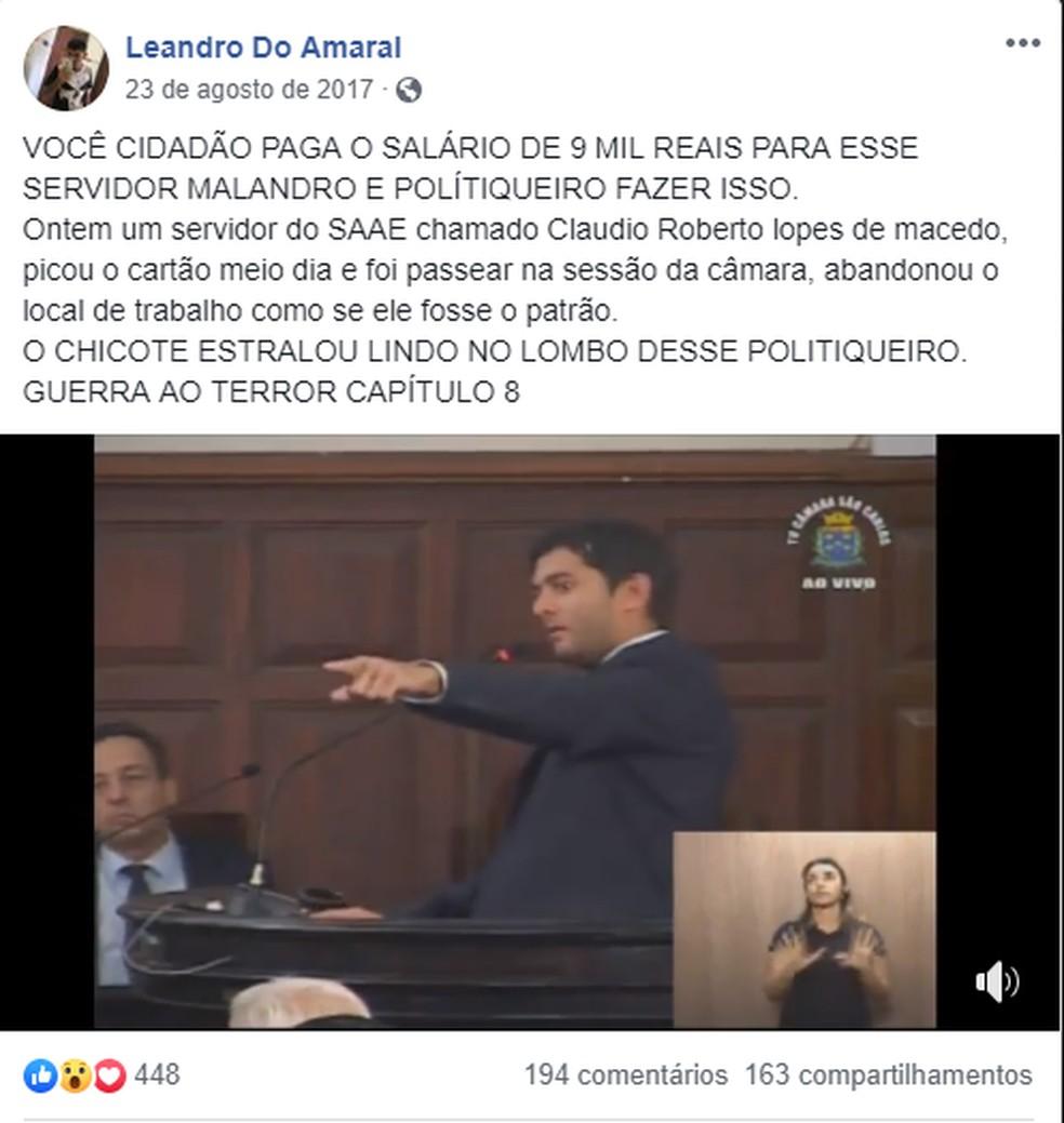 Vereador publicou seu discurso contra servidor na sua página do Facebook — Foto: Reprodução