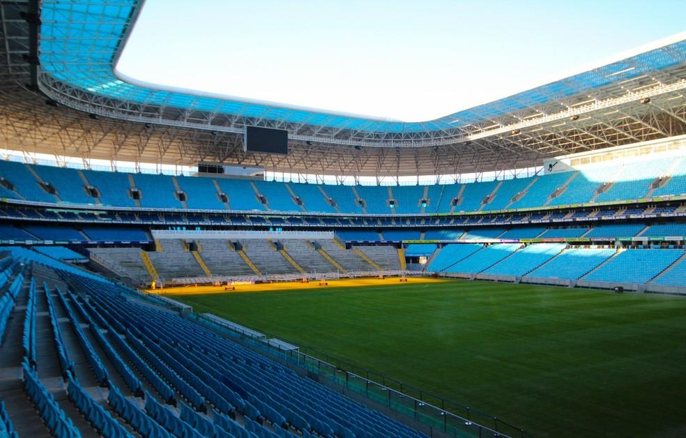 Gramado da Arena do Grêmio (Foto: Bruna Vilella/MFCOM)