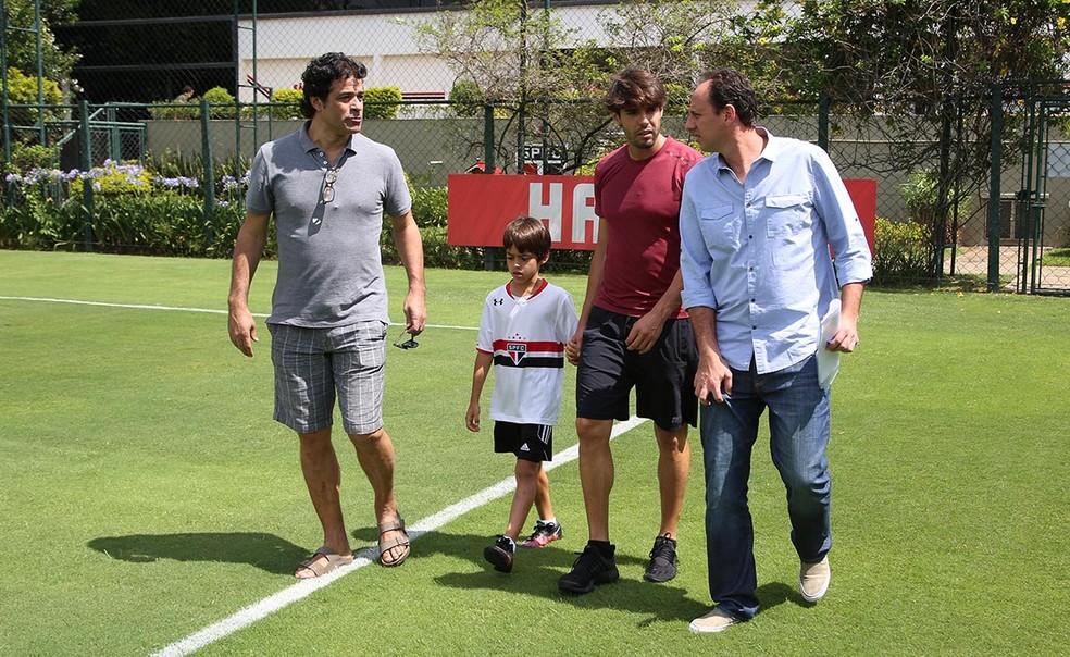 Raí, Kaká e Rogério Ceni no São Paulo, em 2016 (Foto: Rubens Chiri/Saopaulofc.net)