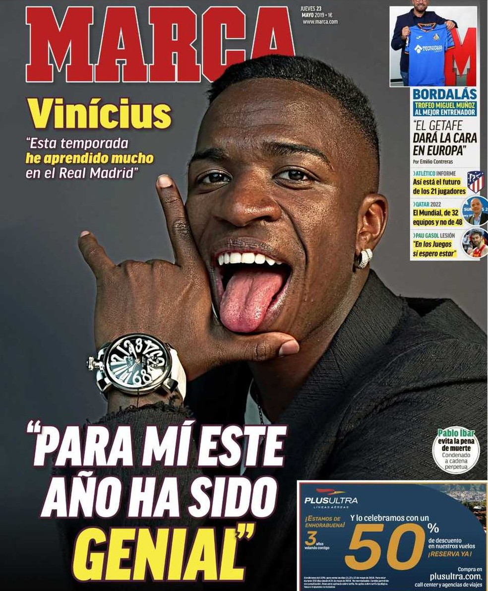 "Capa do ""Marca"" com entrevista de Vinicius Junior, do Real Madrid — Foto: Divulgação"