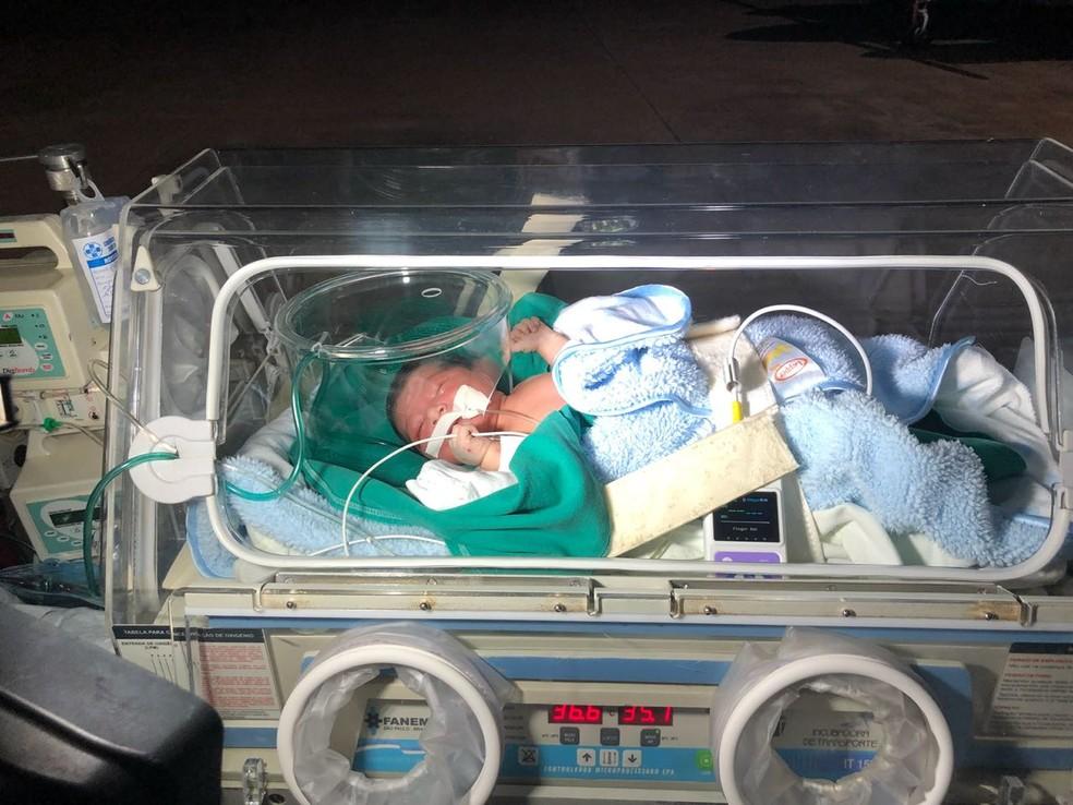 Índia recém-nascida resgatada após ser enterrada viva foi transferida em UTI aérea para Cuiabá (Foto: Abelha Táxi Aéreo)