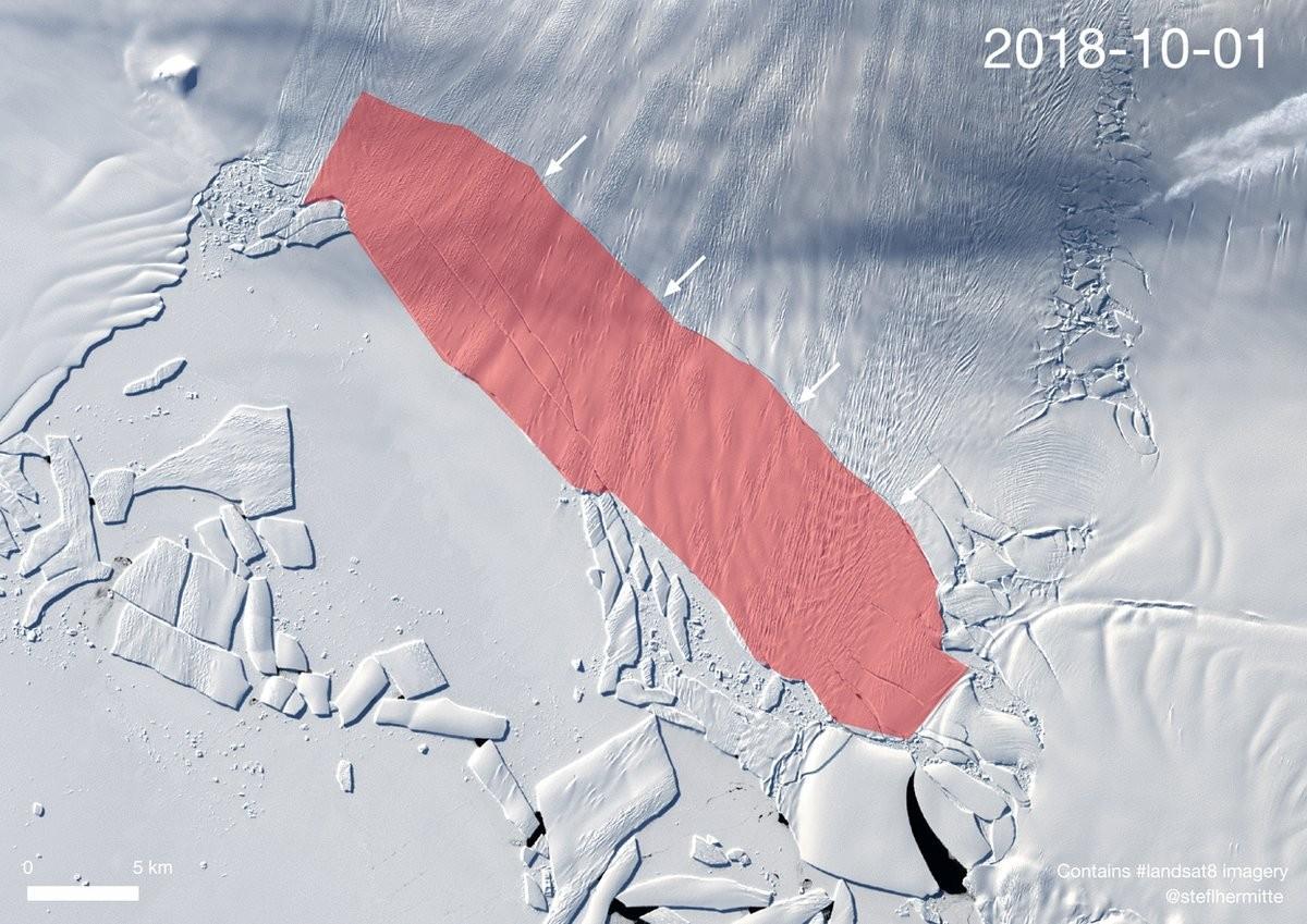 Área vermelha indica o tamanho que o iceberg pode ter ao se soltar (Foto: Landsat OLI/by Stef Lhermitte/Delft University of Technology)