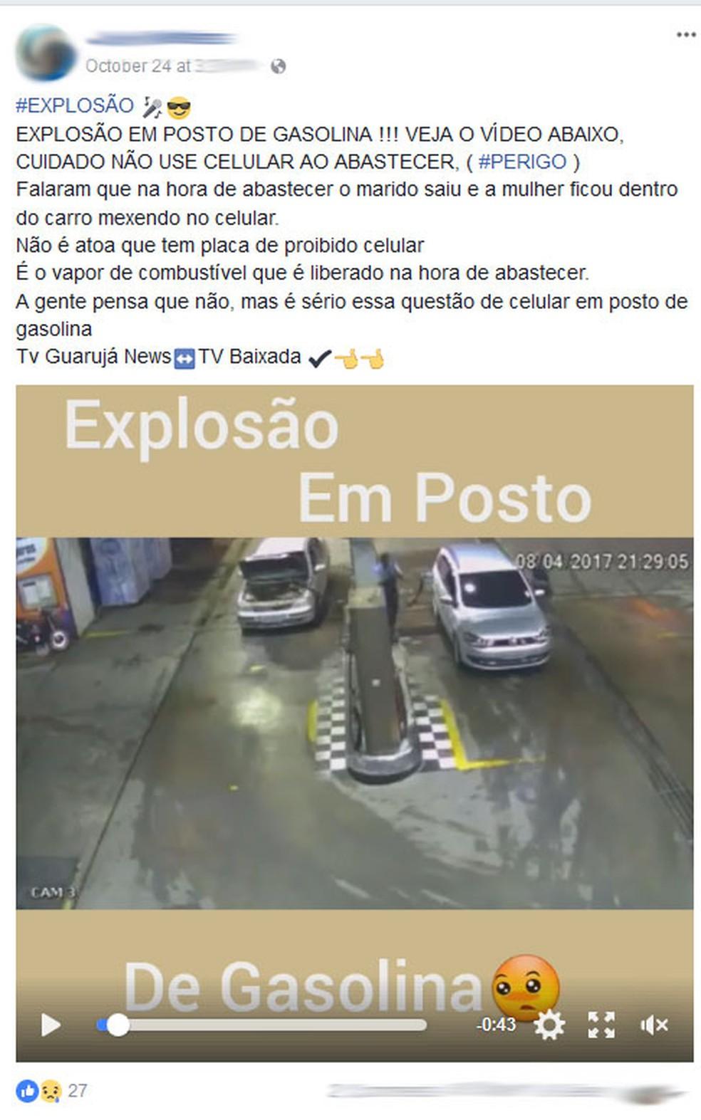 Notícia de carro explodindo em posto de combustíveis por conta de celular é falsa (Foto: Reprodução/Facebook)