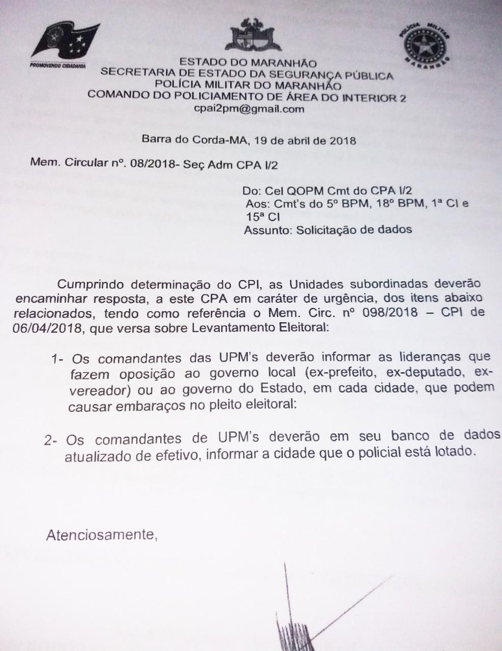 Memorando da Polícia Militar que motivou investigação interna na corporação no Maranhão (Foto: Divulgação / Polícia Militar)