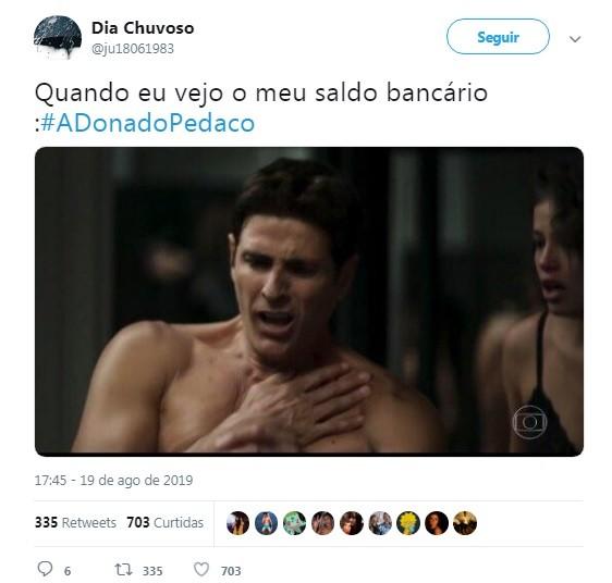 Internauta faz piada com a cena de 'A dona do pedaço' (Foto: Reprodução / Twitter)