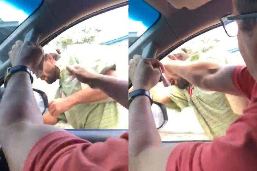 Morador que pedia dinheiro para comprar comida foi agredido por empresários na rua — Foto: Reprodução