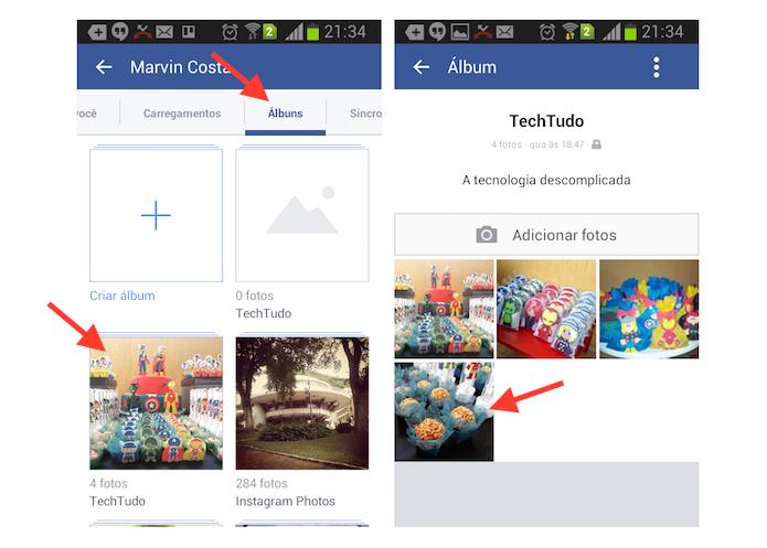 Acessando uma foto que será deletada do Facebook pelo Android (Foto: Reprodução/Marvin Costa)