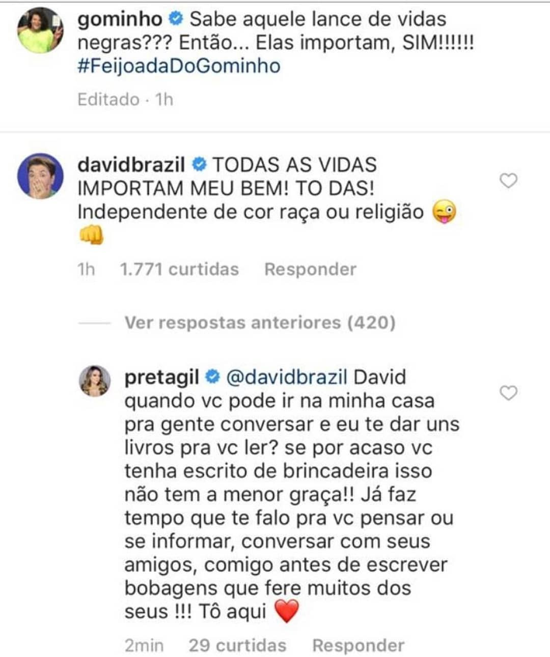 Preta Gil rebate comentário de David Brazil em post de Gominho (Foto: Reprodução/Instagram)