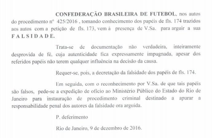 Documento CBF falsificação Victor Ramos  (Foto: Reprodução)