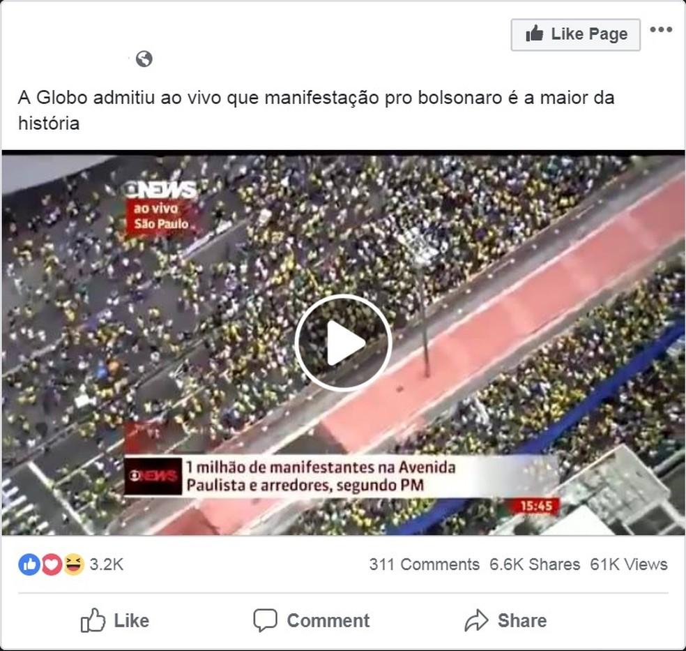 É #FAKE mensagem que cita a Globo e diz que manifestação pró