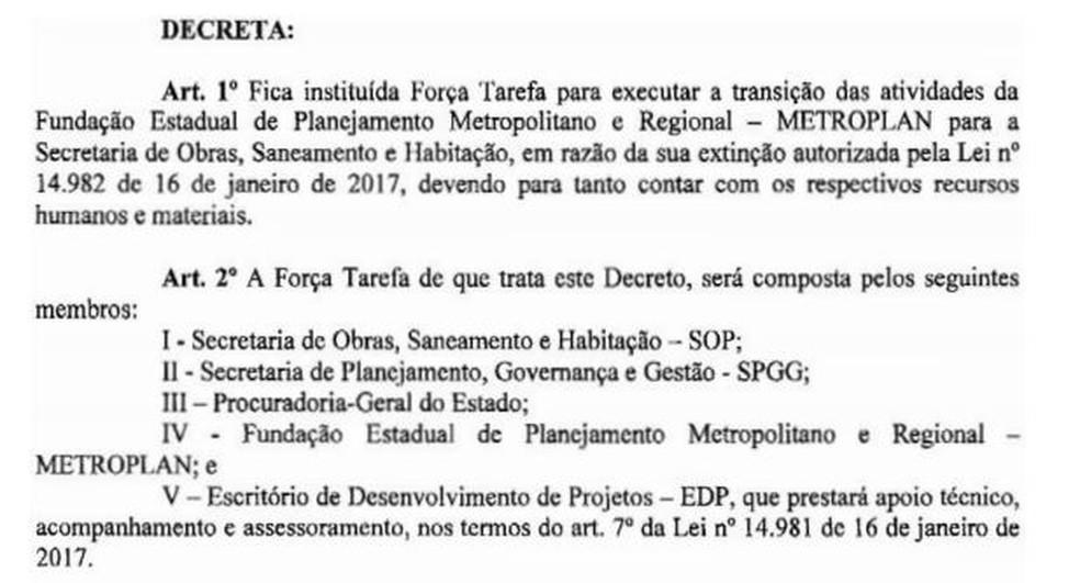 Decreto estabelece a força-tarefa que vai transferir as atividades da Metroplan para a Secretaria Estadual de Obras (Foto: Reprodução/Diário Oficial do Estado)