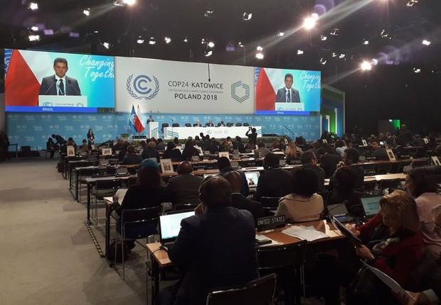 Ministro Edson Duarte disse, na COP24, que o Brasil reduziu as emissões de carbono em 6 bilhões de toneladas entre 2006 e 2015, quando houve queda significativa do desmatamento da Amazôni (Foto: Debora Brito/Agência Brasil)