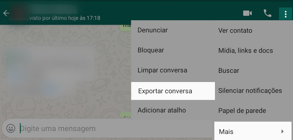 WhatsApp 'Export Conversation' function can be used to archive specific conversations. - Photo: Reproduction
