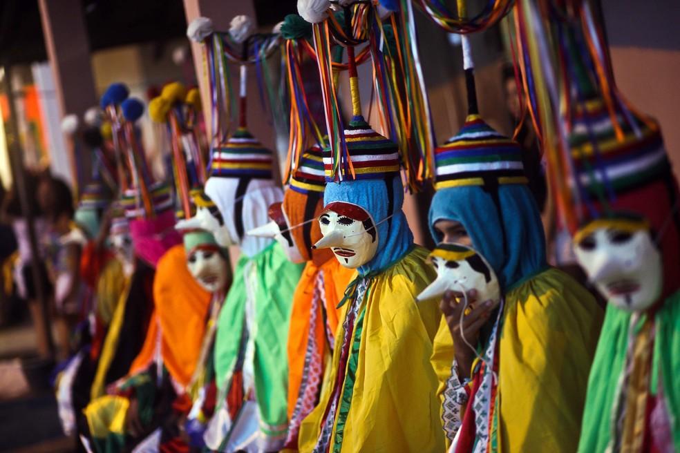 Mascarados do carnaval de São Caetano de Odivelas (Foto: Thiago Gomes/Agência Pará)