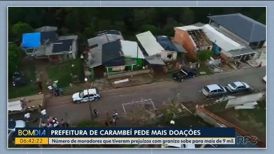 Prefeitura de Carambeí pede mais doações para famílias atingidas pelo temporal