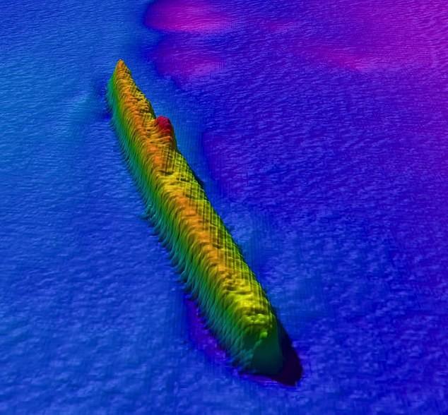Imagem feita com radares submarinos detalhou o submarino que afundou (Foto: Divulgação/ Bangor University)