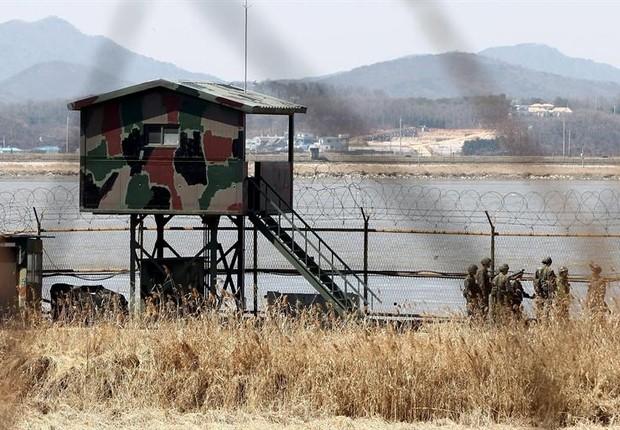 Fronteira da Coreia do Sul com a Coreia do Norte (Foto: Agência EFE)
