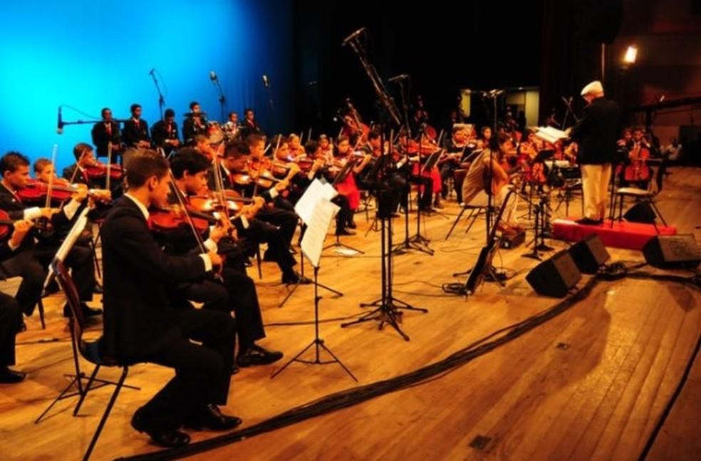 Apresentação da Orquestra Criança Cidadã — Foto: Divulgação/Ascom