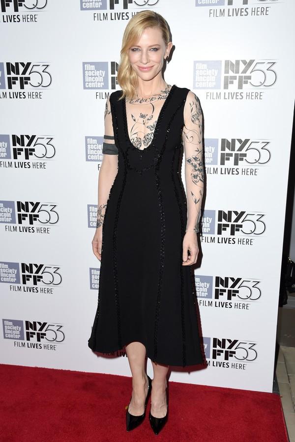 Cate Blanchett em 2015, usando o vestido Aouadi pela primeira vez (Foto: Getty Images)