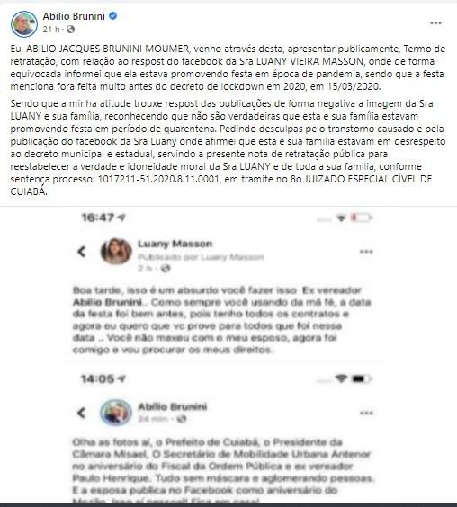 Ex-vereador faz retratação em rede social após acusar mulher de colega de fazer festa na pandemia em Cuiabá