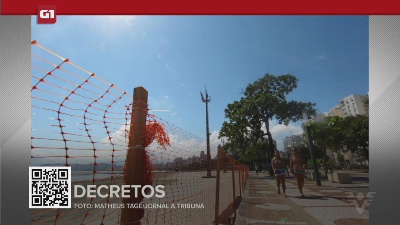 G1 em 1 Minuto - Santos: Cidades da Baixada divulgam novas regras para a fase emergencial