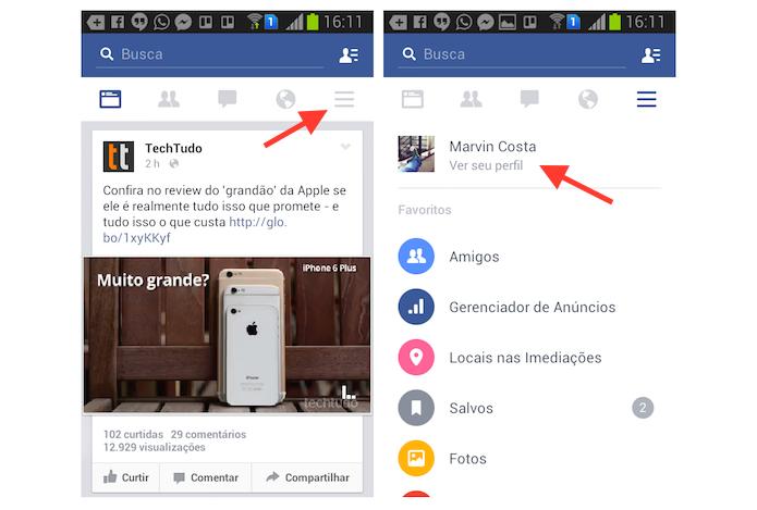Acessando um perfil de usuário no Facebook pelo Android (Foto: Reprodução/Marvin Costa)