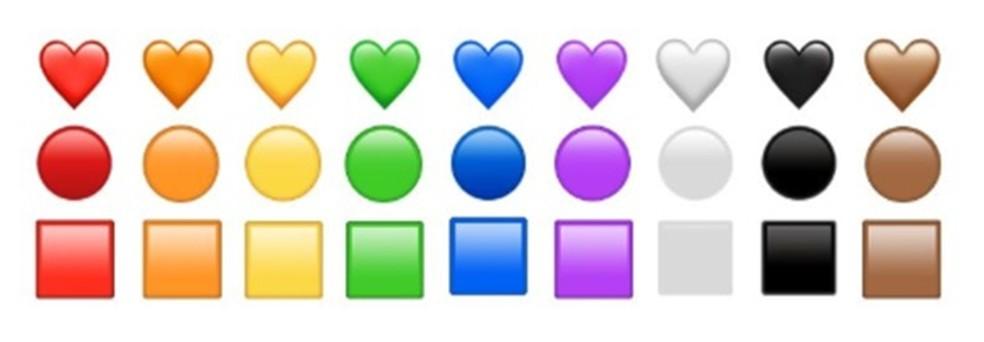Símbolos com novas cores no pacote Emoji 12.0 — Foto: Divulgação/Emojipedia