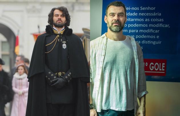 Carmo Dalla Vecchia era o Rei Augusto. Ele viajou para o Brasil em busca da filha perdida, Aurora (Bianca Bin). Atualmente, o ator interpreta o professor Rafael, em 'Malhação' (Foto: TV Globo)
