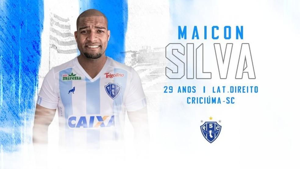 3840ae35480b7 ... Maicon Silva chega por empréstimo cedido pelo Londrina — Foto   Divulgação Paysandu