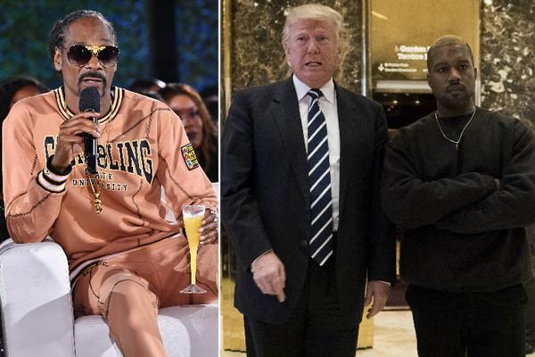 Snoop Dogg e o presidente Donald Trump com Kanye West (Foto: Getty Images)
