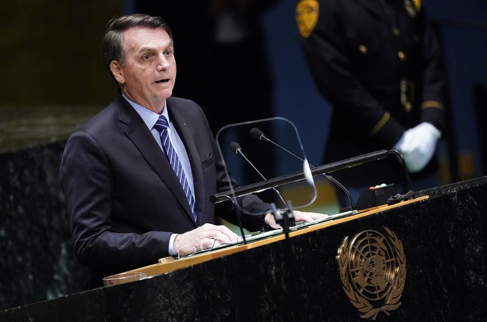 O presidente Jair Bolsonaro durante discurso na 74ª Assembleia Geral das Nações Unidas (ONU), em Nova York (EUA) — Foto: Carlo Allegri/Reuters