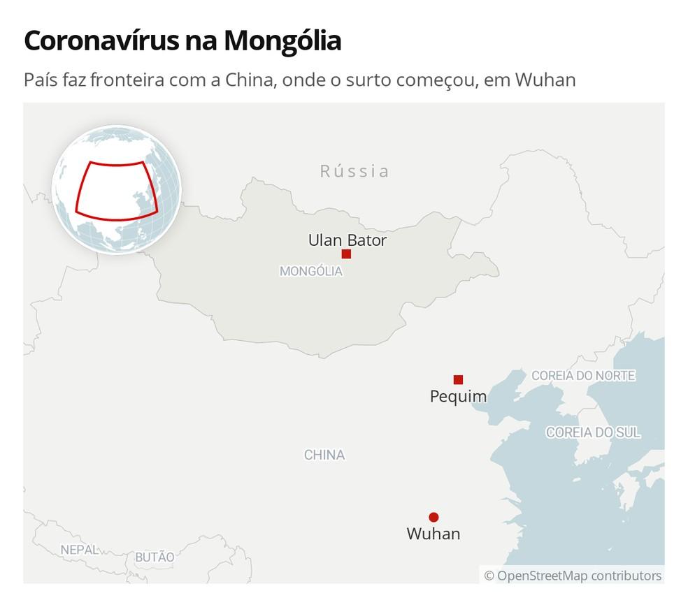 Coronavírus na Mongólia: país faz fronteira com a China, onde o surto começou, em Wuhan — Foto: G1