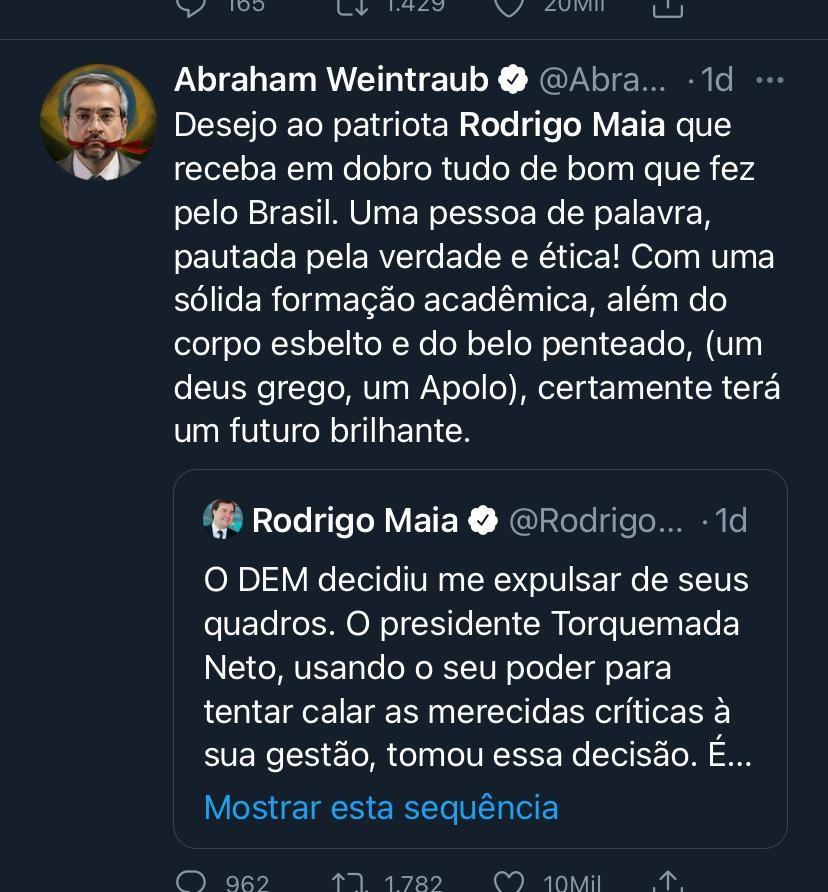 Weintraub, negacionista e terraplanista, posta tuíte gordofóbico contra Rodrigo Maia