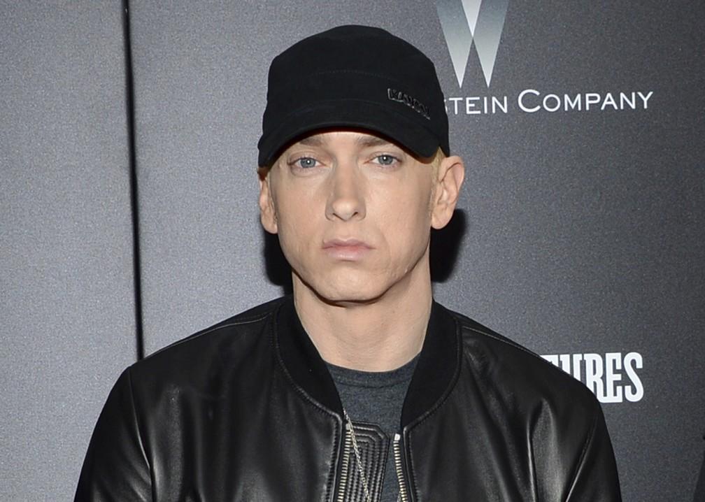 -  Eminem durante o lançamento de 'Southpaw', em julho de 2015  Foto: Evan Agostini/Invision/AP/Arquivo