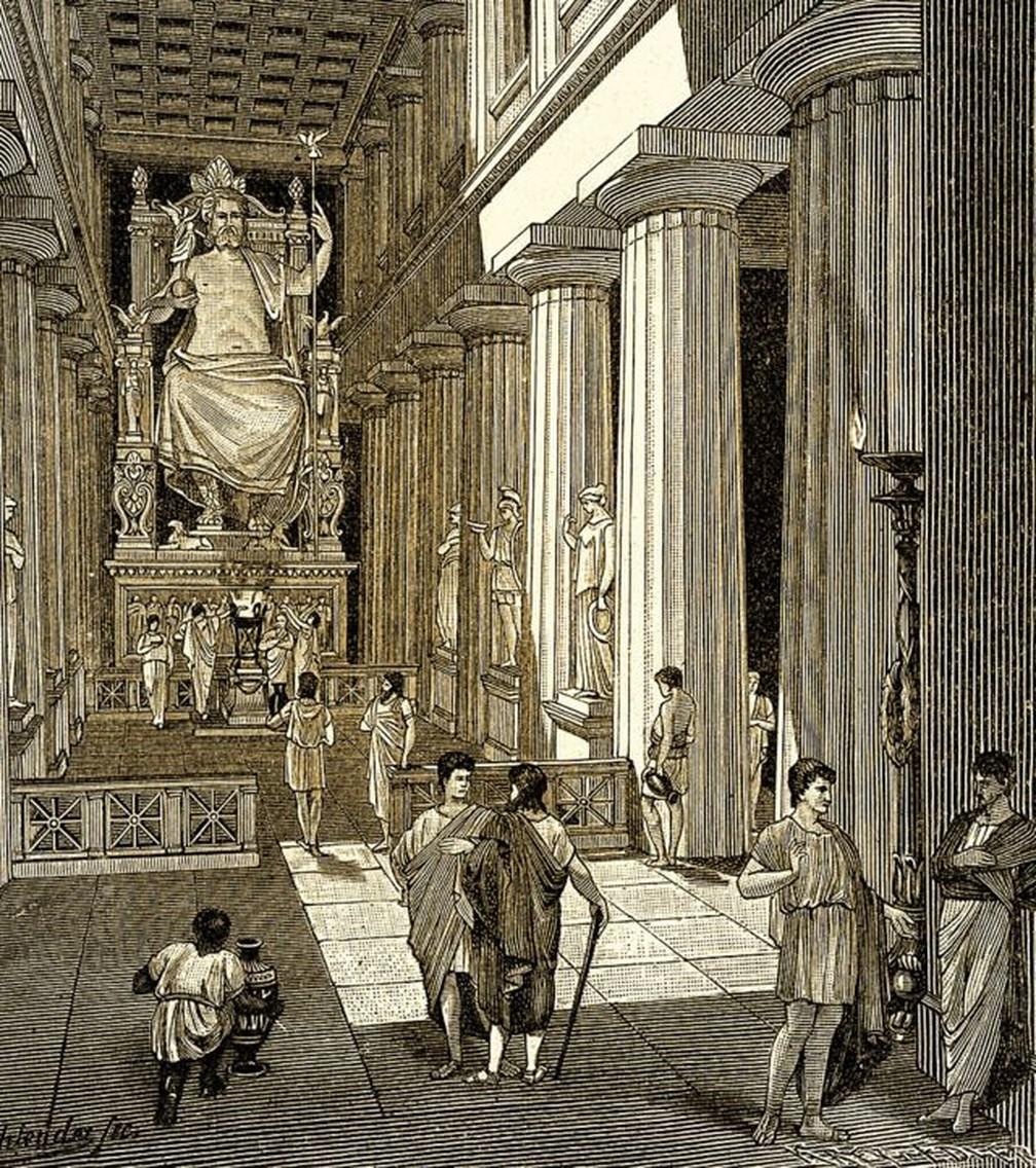 A estátua de Zeus era tão grande, quase 12 metros de altura, que mal cabia dentro do templo — Foto: Getty Images via BBC