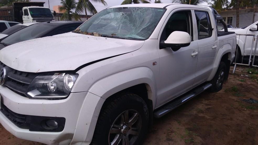 Caminhonete Amarok foi roubada na Zona Sul e recuperada pela polícia na Zona Leste de Natal — Foto: Geraldo Jerônimo/InterTV Cabugi