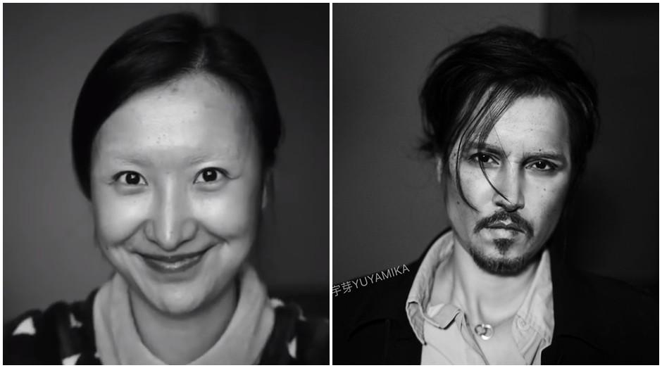 À esquerda, He sem maquiagem; à direita, a transformação em Johnny Depp (Foto: Reprodução)