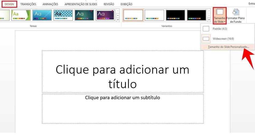 Alterando as dimensões do slide no PowerPoint — Foto: Reprodução/Rodrigo Fernandes