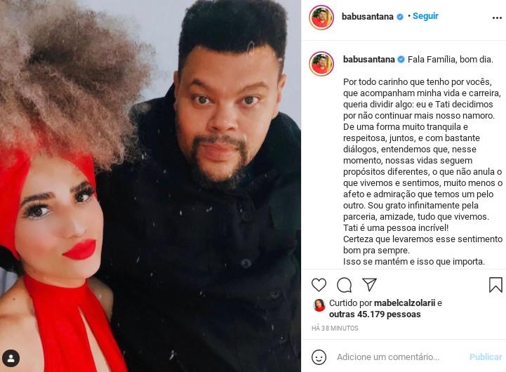 Babu E Tatiane Melo anunciam término do relacionamento (Foto: Reprodução)