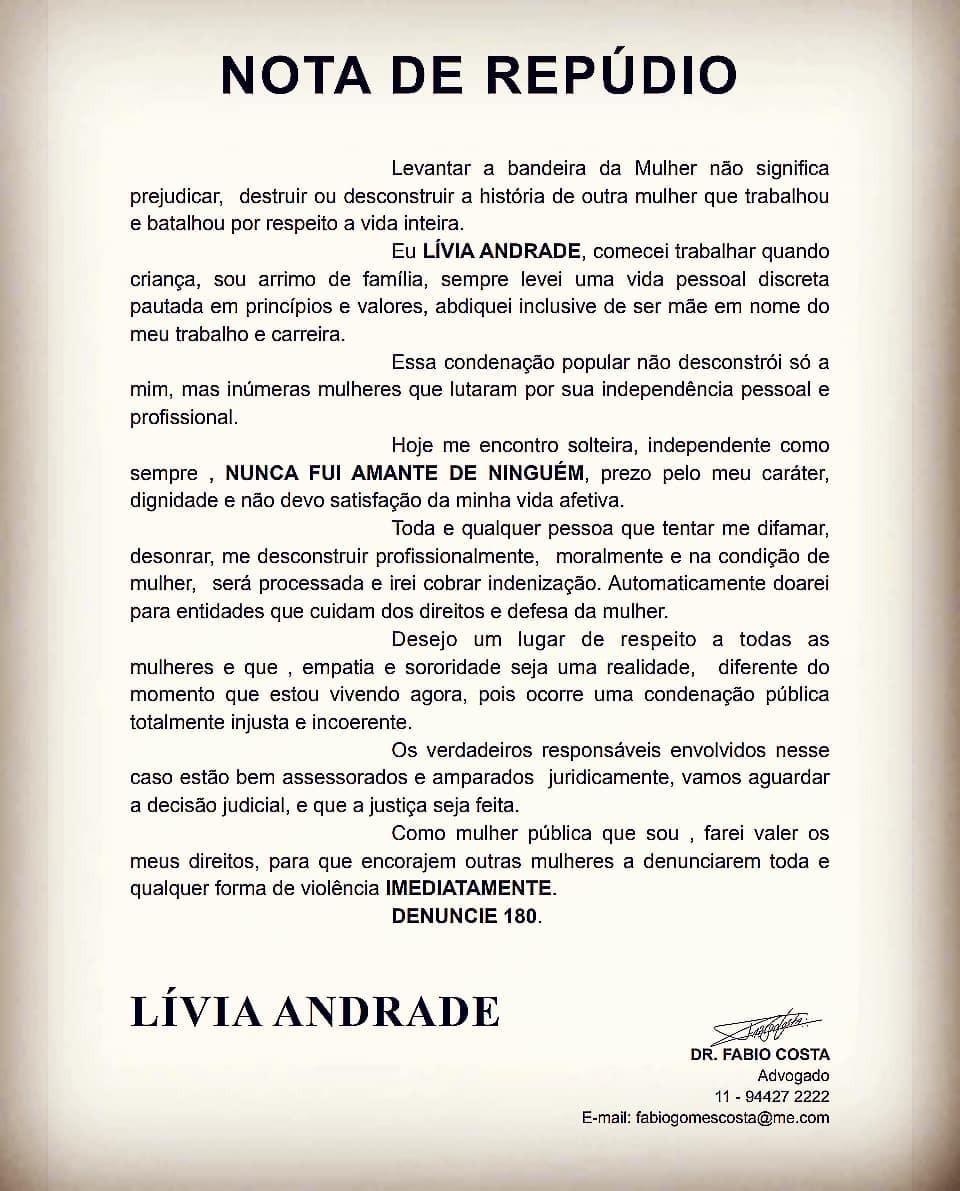 Lívia Andrade publica nota de repúdio (Foto: Reprodução/Instagram)